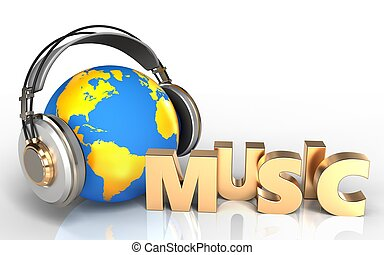 3d blank music sign - 3d illustration of world in headphones...