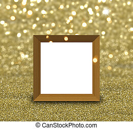 3D blank picture frame on a gold glitter background