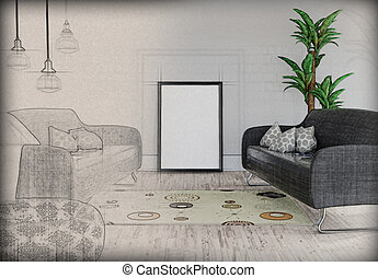 3D blank picture leaning against a wall in a room interior with half in sketch phase