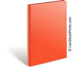 3d blank red book vector mockup. Paper book isolated on white