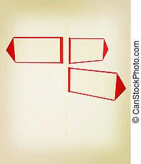 3D blank road sign . 3D illustration. Vintage style.
