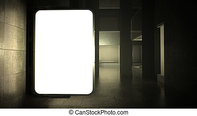 3d blank street advertising billboard on wall