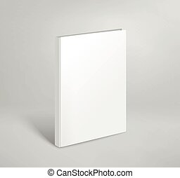 3d blank thin book vector mockup. Paper book template