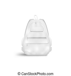 Blank White Closed Backpack With Zipper With Handle And Pockets. EPS10 Vector