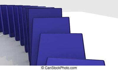 3d, blaues, dominos, gegen, weißes, zurück