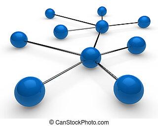 3d, blauwe , chroom, netwerk