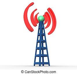 3d, blauwe , draadloos mededeling, toren, op, een, witte achtergrond