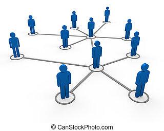 3d, blauwe , netwerk, team