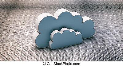 3d, bleu, illustration, nuages, nuage, computing., ...
