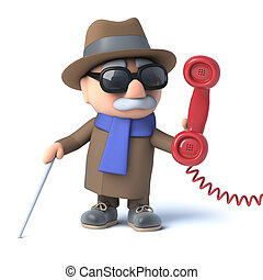 3d Blind man answers the phone