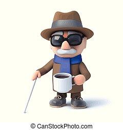 3d Blind man has a tea break