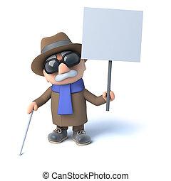 3d Blind man holding a placard