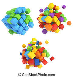 3D block cubes render on white back - Business concept - 3D...