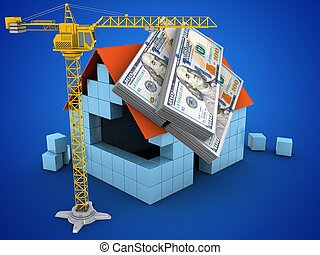 3d block house - 3d illustration of block house over blue...