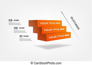 3d blocks, stairs of success, infographics step by step. Element of chart, graph, diagram with 3 options - parts, processes, timeline. Vector business template for presentation, workflow, web design