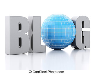 3d blog and globe on white background