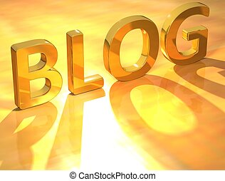 3D Blog Gold Text on yellow background