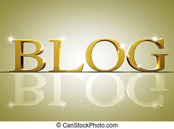 3d blog text in gold