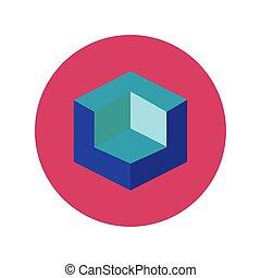 3d, blok, ontwerper, stijl, figuur, plat, pictogram