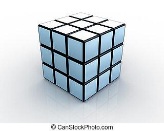 3d, blok rubik, #1