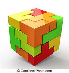 3d, blokje, gekleurde, abstractie
