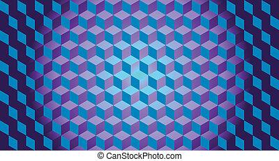 3d, blokje, illusie, achtergrond