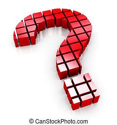 3d, blokjes, vraagteken, symbool