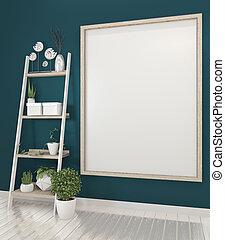 3d, blu, manifesto, cornice, rendering., su, parete legno, beffare, scuro, plants., vuoto, decorazione