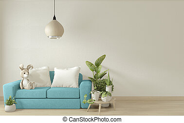 3d, blu, minimo, bianco, manifesto, disegno, divano, design., interpretazione, su, stanza, beffare, interno, vivente