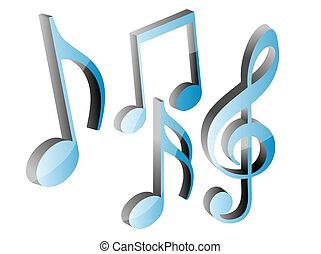 3d, blu, note musica