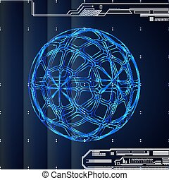 3D blue abstract tech background  with sphere