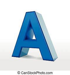 3d blue alphabet A