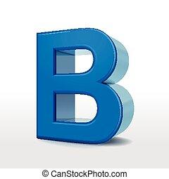3d blue alphabet B