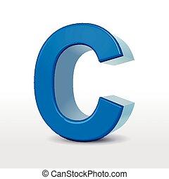 3d blue alphabet C