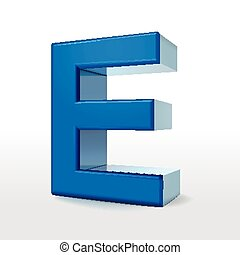 3d blue alphabet E
