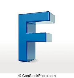3d blue alphabet F
