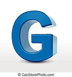 3d blue alphabet G