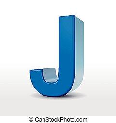 3d blue alphabet J