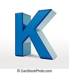 3d blue alphabet K