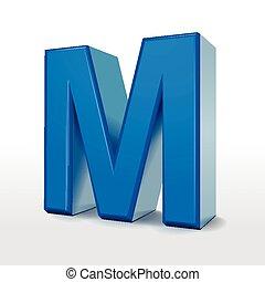 3d blue alphabet M