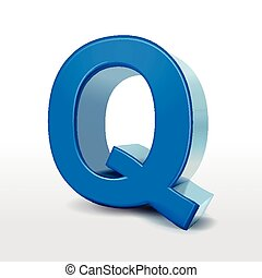 3d blue alphabet Q isolated on white background