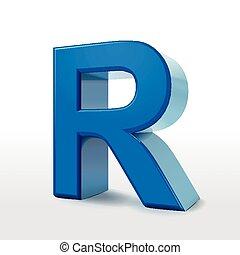 3d blue alphabet R