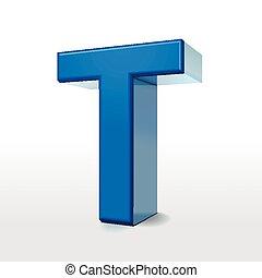 3d blue alphabet T