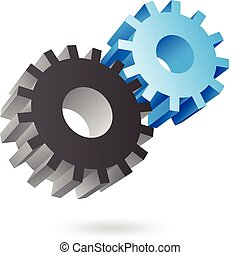 3d blue and black cogs