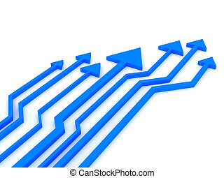 3d blue arrows competition. Rendered image.