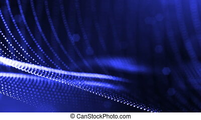 3d blue background with fantastic luminous particles. Looped 3d animation with depth of field, light effects. Modern digital background. Curved lines 18
