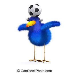 3d Blue bird balance