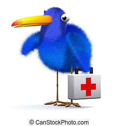 3d Blue bird brings first aid - 3d render of a blue bird...