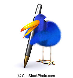 3d Blue bird comments - 3d render of a blue bird writing ...