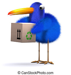 3d Blue bird delivery
